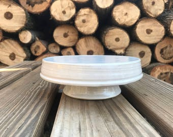 READY TO SHIP handmade cake stand, white cake stand, pedestal plate, spring, gift ideas, cottage chic