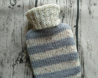 Mini Hot Water Bottle With Handmade Knitted Cover In Grey And Oatmeal