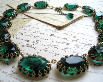 emerald green Statement Necklace, regency collet Necklace, Anna Wintour necklace, downton abbey jewelry, anna wintour jewelry.