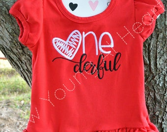 Girls ONEderful Embroidered Shirt, Long or Short Sleeves, Sizes 18 Mos.-Girls 3