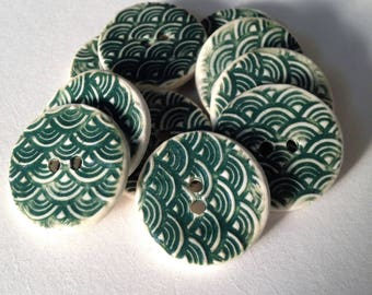 Green Buttons, Ceramic Buttons, Wave Patterned,  Textured Buttons, Ceramic Beads, Round Coat Buttons, Sewing Buttons, Price Per Button