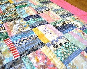 Beautiful Distressed 1960s Hand Stitched Vintage Patchwork Quilt
