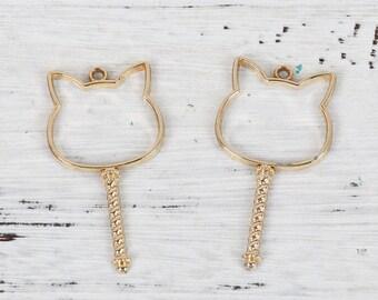 2 stem charms Golden creation cat resin 54mm