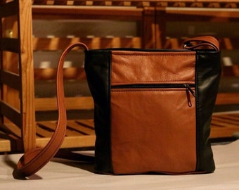 Crossbody leather purse- black and caramel color leather - great travel bag - large Emily style- made in the USA - cross body bag