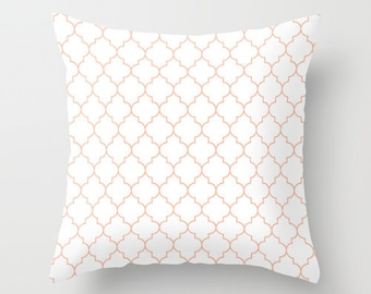 Peach Pillow - Velveteen Pillow - Quatrefoil - Girls Pillow - Teen Pillow - Girls Room Decor - Teen Room Decor - Dorm Decor - Peach Cushion
