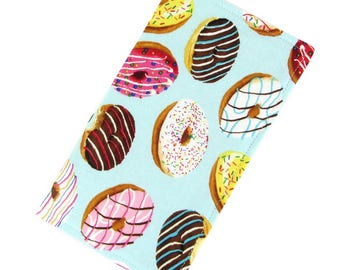 Women's Fabric Checkbook Cover Wallet - Donuts Print