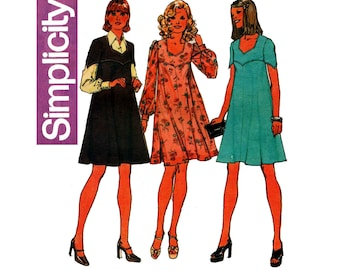 Simplicity 6501 Womens Tent Dress or Jumper Pointed or Long Full Sleeves Vintage Sewing Pattern Size 14 Bust 36 inches UNCUT Factory Folded