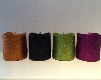 Glitter Pillar LED Flameless Candle - Fall Votive Candle - Harvest Colors - Glitter Votive - Fall Decor - Fall Candle - Halloween Decoration