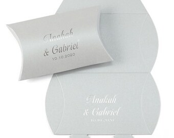 Elegant Silver Shimmer Wedding Favor Boxes