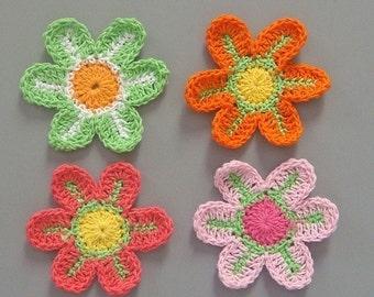 12 Large Crochet Flower Appliques EA85C