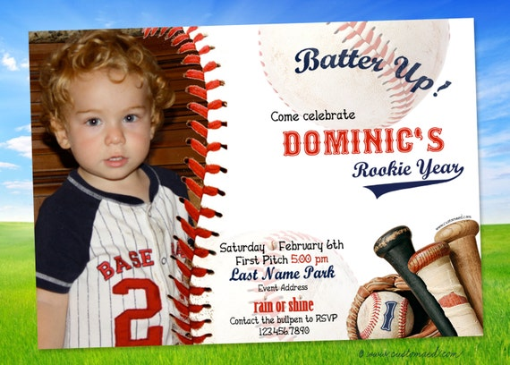 Baseball FIRST BIRTHDAY Invitations ROOKIE Party Invitation