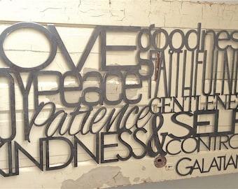 Fruit of the Spirit Large Metal Scripture Wall Art- Galatians 5:22-23