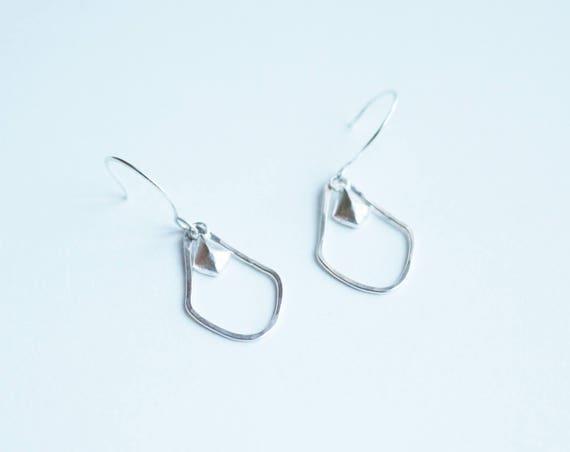 Dangling Shield Earrings in Brass or Silver