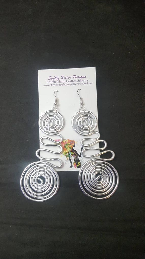 Silver Colored Wire Earrings Wire Wrapped Earrings Aluminum