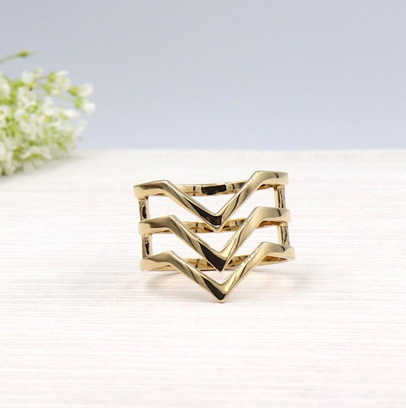 gold plated women rings three v