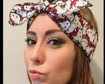 Hello Kitty headband // Hello Kitty headwrap // tie headband // knot style headband // Hello Kitty