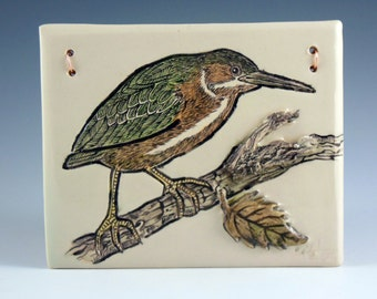 Green Heron Wall Tile, Handpainted Ceramic Tile, Pottery Tile, Hand Sculpted Tile
