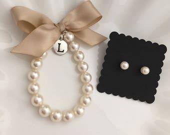 Flower Girl initial charm bracelet and earring set, personalized girls bracelet with earrings,  custom made flower girl gift