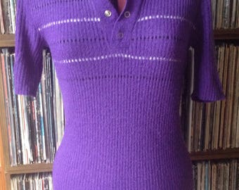 Vintage 60s 70s purple knitted Top, UK 10, US 6
