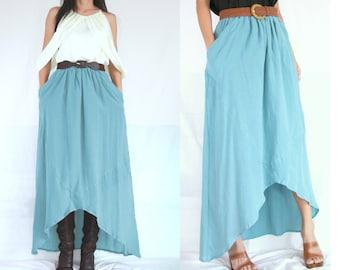SALE - High Low Blue Skirt - Lagenlook Unique Big Pockets Light Blue Long Maxi Skirt - SK003