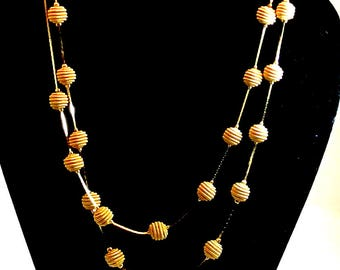 Trifari TM Gold Tone Chain Necklace 36 Inch Gold Chain 23 Gold Bead Necklace Vintage Necklace