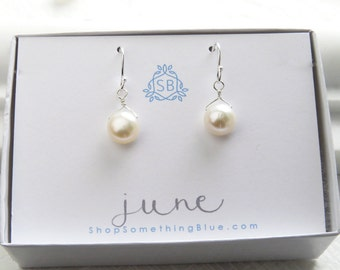 June Birthday Gift • Freshwater Pearl Earrings • White Button Pearls • June Birthstone • Round Pearl Drops • Minimal Jewelry • Pearls