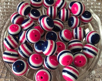 20mm Chunky Beads , Hot Pink - White - Navy blue Striped Solid Chunky Bubblegum Beads , 10pc bead set , Wholesale beads , Gumball beads