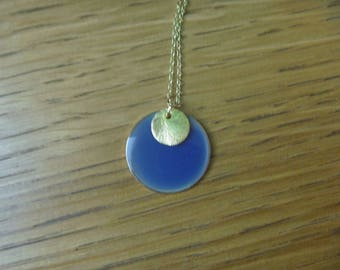 blue gold necklace round gold plated sterling silver