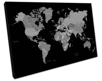 print on canvas wall art Black & White Map of the world countries - Map Art Print - X2354