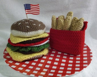 Crochet Double Cheeseburger With French Fries Coaster Set Whimsical Gift for Foodie Free Shipping Novelty Birthday Present