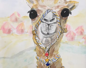 Greeting Cards: Camel with pom poms, Set of 4 Blank Note Cards, 4.25x5.5 inches