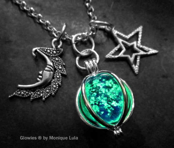 Moon & Stars Glowing Orb Charm Galaxy Glow Glass Necklace
