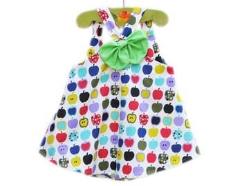 Girl's Top, Girls Clothing, Modern, Apples, Big Bow, Handmade in USA, KK Children Designs, 5-6T, Last One