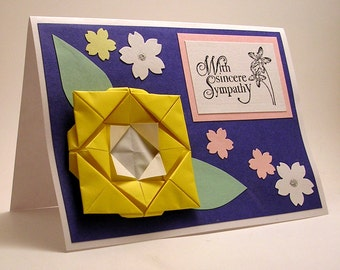 Origami Flower With Sympathy card (yellow)