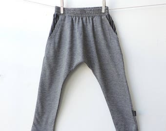 Grey Harem Pants Toddler | Boys Girls Harem Pants | Harem Pants Baby Boy | Kids Harem | Boys Summer Pants | Hipster Kids - By PetitWild