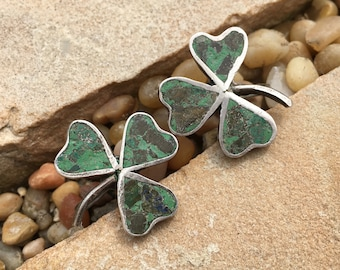 Early Mexican Sterling Crushed Stone Shamrock Earrings Screw Backs