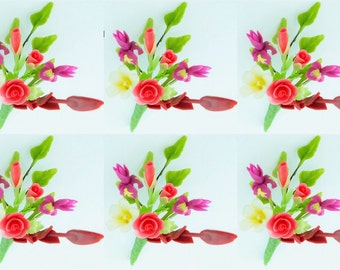 Miniature Polymer Clay Flowers Supplies Iris Bouquet for Dollhouse 6 bunches