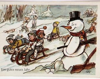 Snowman Postcard, Funny Sleigh Ride, Lustige Schlittenfahrt, Germany, New Year 22114