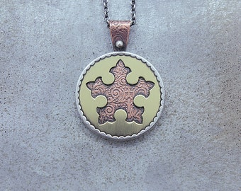 Etched Pierced Mixed Metal Medallion Necklace
