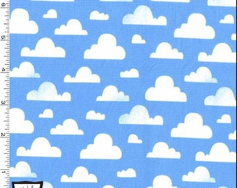"""END OF BOLT- 13.5""""X44"""" Cloudy Day on Sky Blue from Michael Miller's Pitter Patter Collection"""