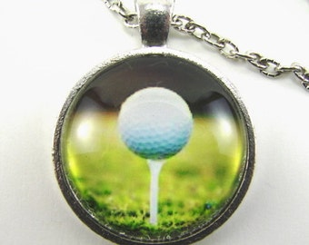 ON THE 18th TEE Golf Necklace -- Golf ball on tee as dusk gathers, Golf art,  Gift for lady or gentleman golfer