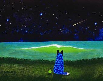 Australian Cattle Dog Blue Heeler seascape art print by Todd Young SUMMER NIGHT