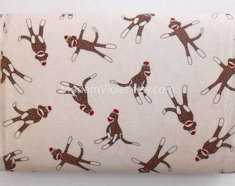 LAATSTE stuk gooide Sock Monkey op crème door Erin Michael voor Moda 15071 stof Destash 29 Inch overblijfsel