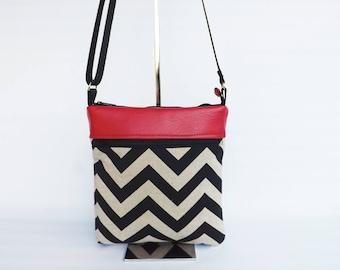 CrossBody Bag Purse, Small Crossbody Bag, Shoulder Bag, Sling Bag, CrossBody Shoulder Bag, Small Tablet Bag Shoulder Purse Natural Chevron