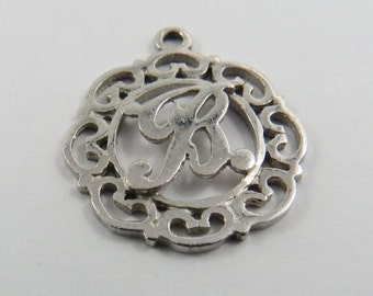 """Initial """"B""""  Silver Charm of Pendant."""