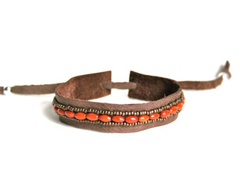 Orange Brown Coral beads and Leather strap bracelet