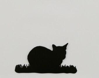 """Cat in Grass #5 - Metal Wall Art - 8.3"""" Wide x 4.1"""" Tall - (MM18---)"""