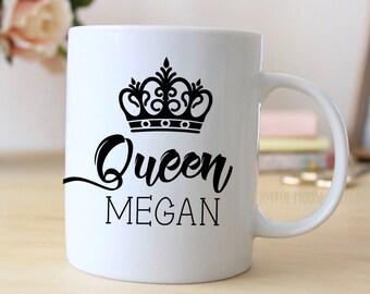Personalized Crown Coffee Mug for Her - Custom Queen Coffee Mug - Fairy Tale Gifts