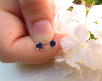 Iolite 4 mm Studs, Sterling Silver Earrings, Semi-precious Gemstone Studs, Faceted Gemstone Studs, Small Iolite Studs, 4 mm Sterling Posts