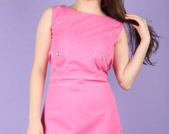 Groovy 60s Vintage Pink A line Dress